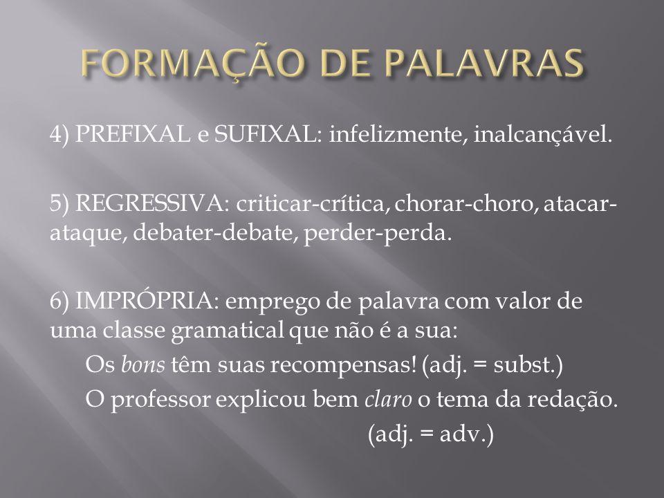 FORMAÇÃO DE PALAVRAS 4) PREFIXAL e SUFIXAL: infelizmente, inalcançável.