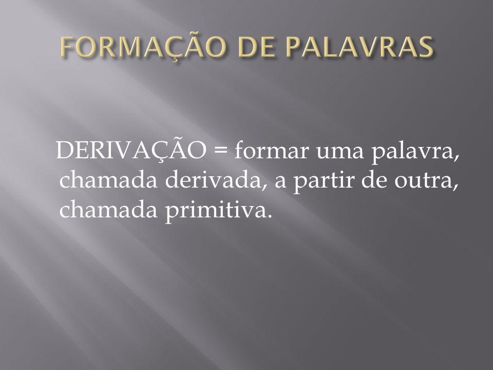 FORMAÇÃO DE PALAVRAS DERIVAÇÃO = formar uma palavra, chamada derivada, a partir de outra, chamada primitiva.