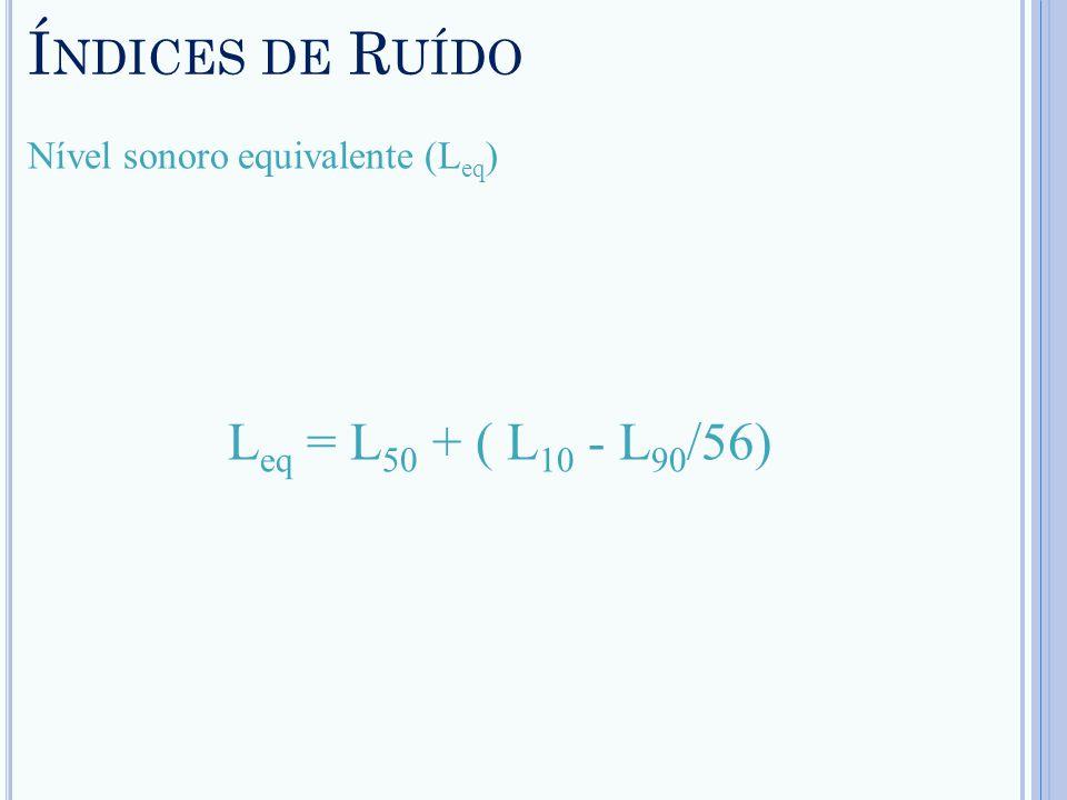Índices de Ruído Leq = L50 + ( L10 - L90/56)