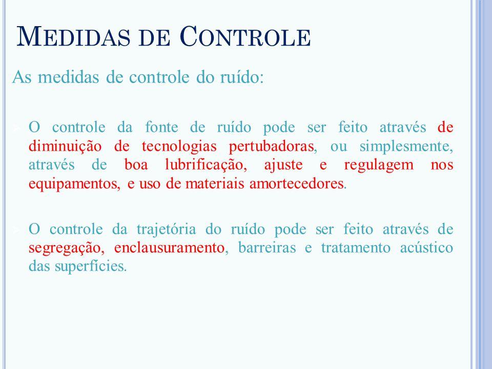 Medidas de Controle As medidas de controle do ruído: