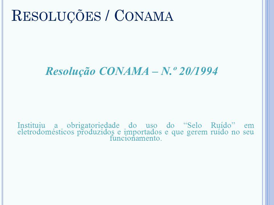 Resoluções / Conama Resolução CONAMA – N.º 20/1994