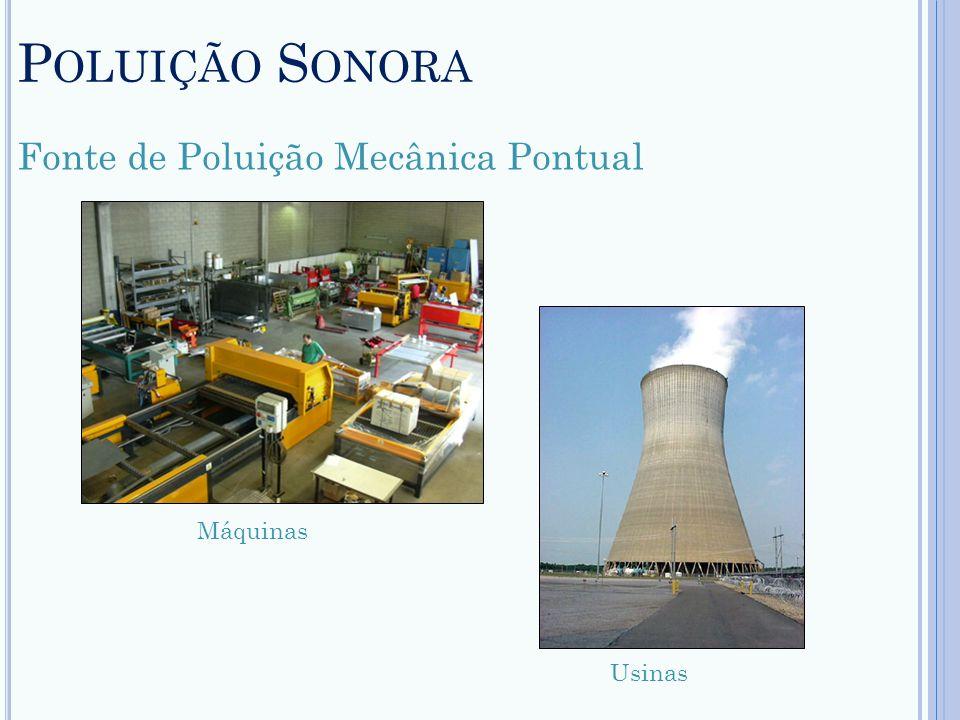 Poluição Sonora Fonte de Poluição Mecânica Pontual Máquinas Usinas