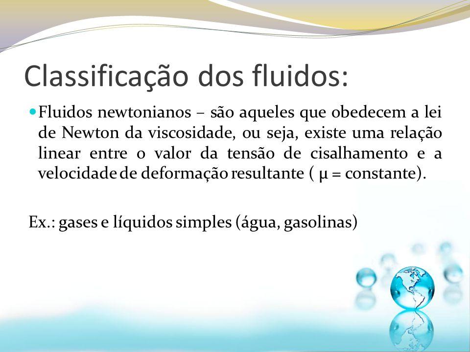 Classificação dos fluidos: