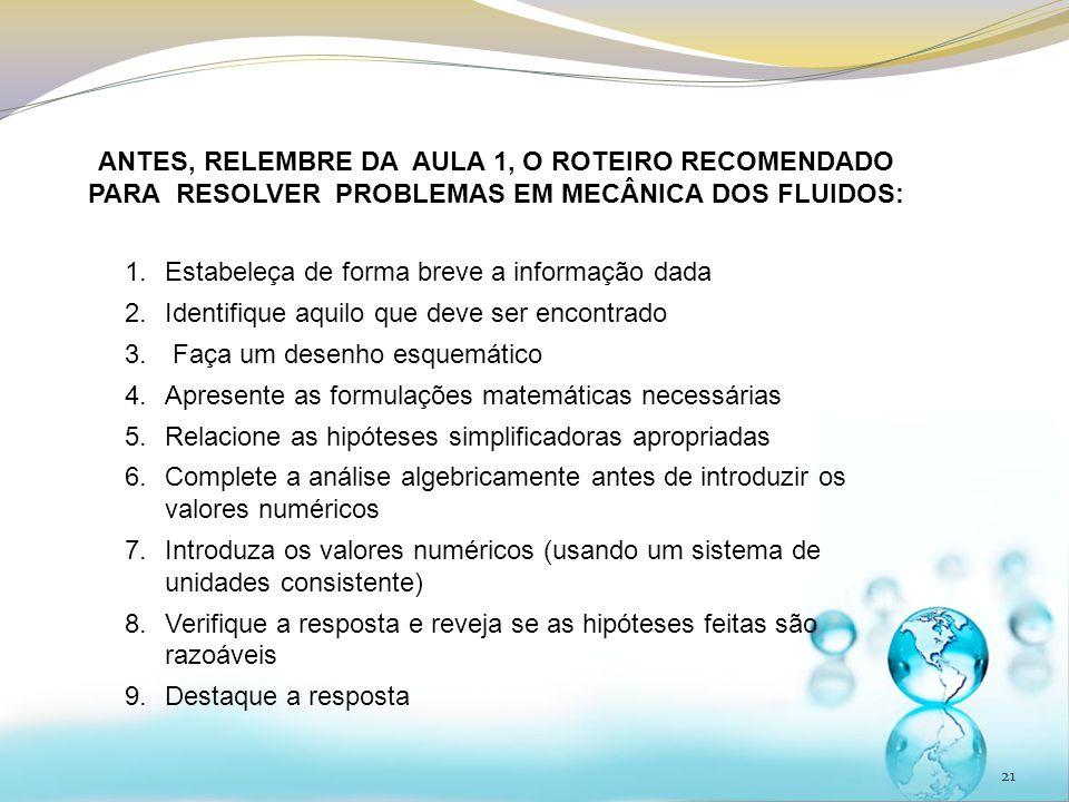 ANTES, RELEMBRE DA AULA 1, O ROTEIRO RECOMENDADO PARA RESOLVER PROBLEMAS EM MECÂNICA DOS FLUIDOS: