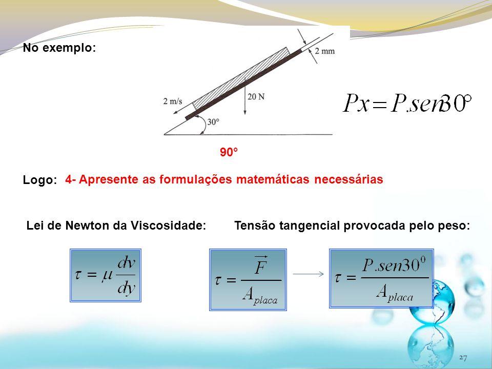 No exemplo: Logo: 90° 4- Apresente as formulações matemáticas necessárias. Lei de Newton da Viscosidade: