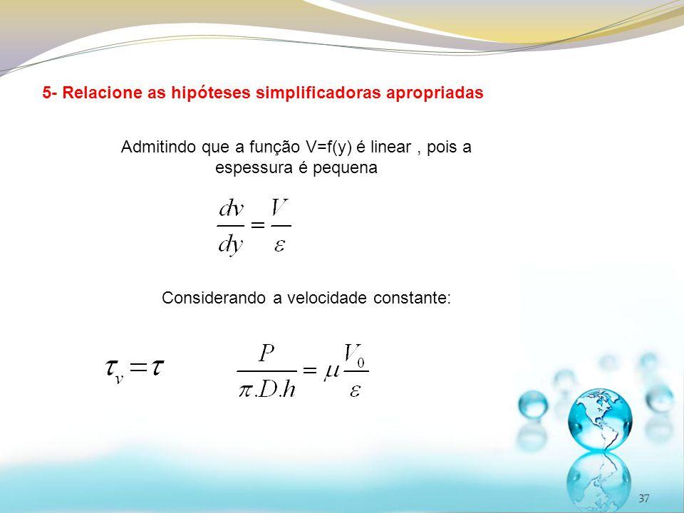 5- Relacione as hipóteses simplificadoras apropriadas
