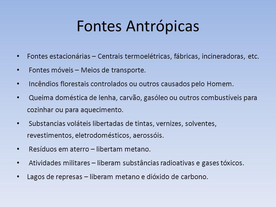 Fontes Antrópicas Fontes estacionárias – Centrais termoelétricas, fábricas, incineradoras, etc. Fontes móveis – Meios de transporte.