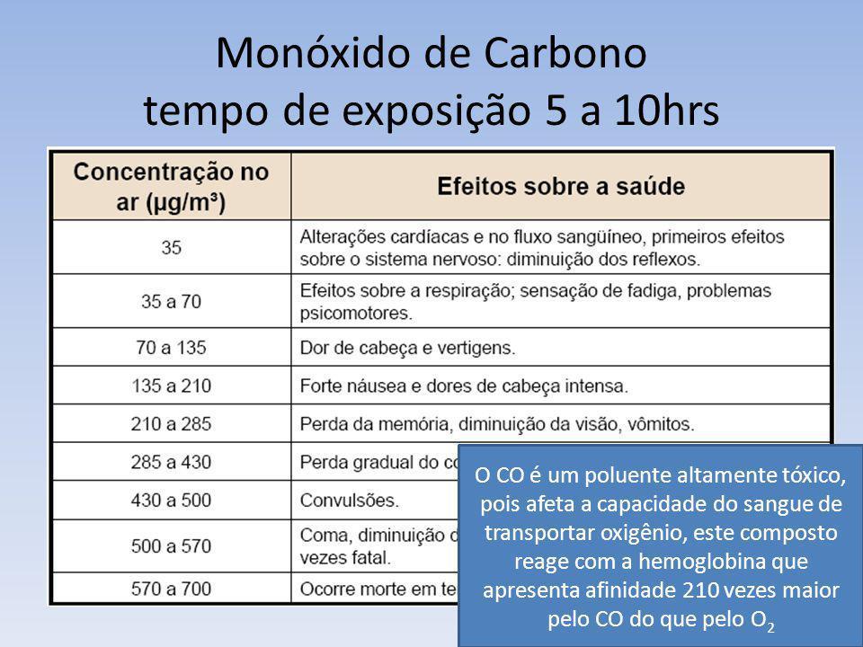 Monóxido de Carbono tempo de exposição 5 a 10hrs