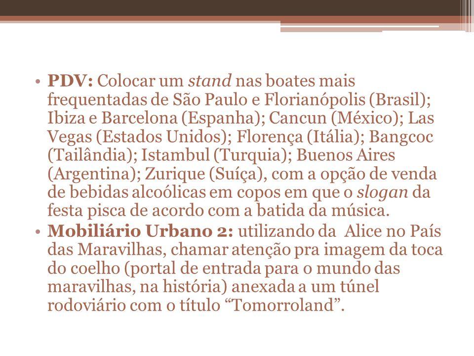 PDV: Colocar um stand nas boates mais frequentadas de São Paulo e Florianópolis (Brasil); Ibiza e Barcelona (Espanha); Cancun (México); Las Vegas (Estados Unidos); Florença (Itália); Bangcoc (Tailândia); Istambul (Turquia); Buenos Aires (Argentina); Zurique (Suíça), com a opção de venda de bebidas alcoólicas em copos em que o slogan da festa pisca de acordo com a batida da música.
