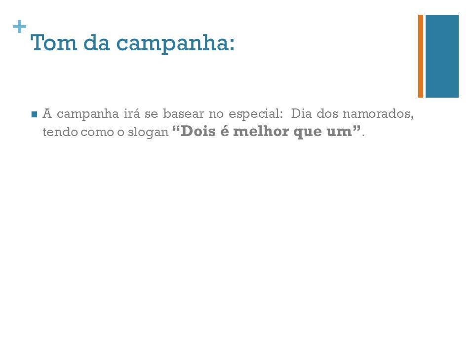 Tom da campanha: A campanha irá se basear no especial: Dia dos namorados, tendo como o slogan Dois é melhor que um .