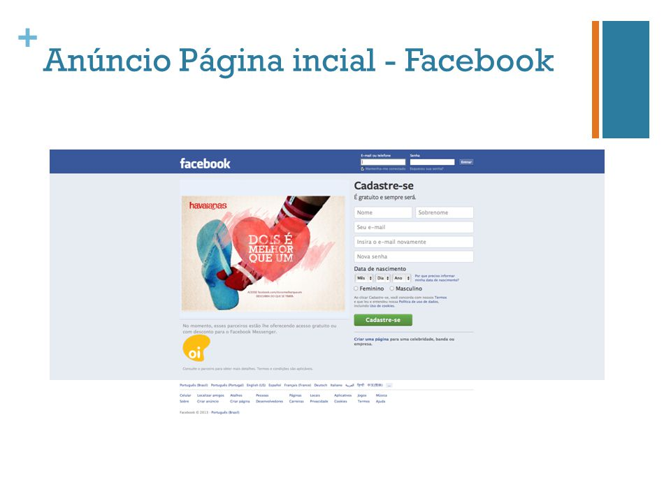 Anúncio Página incial - Facebook