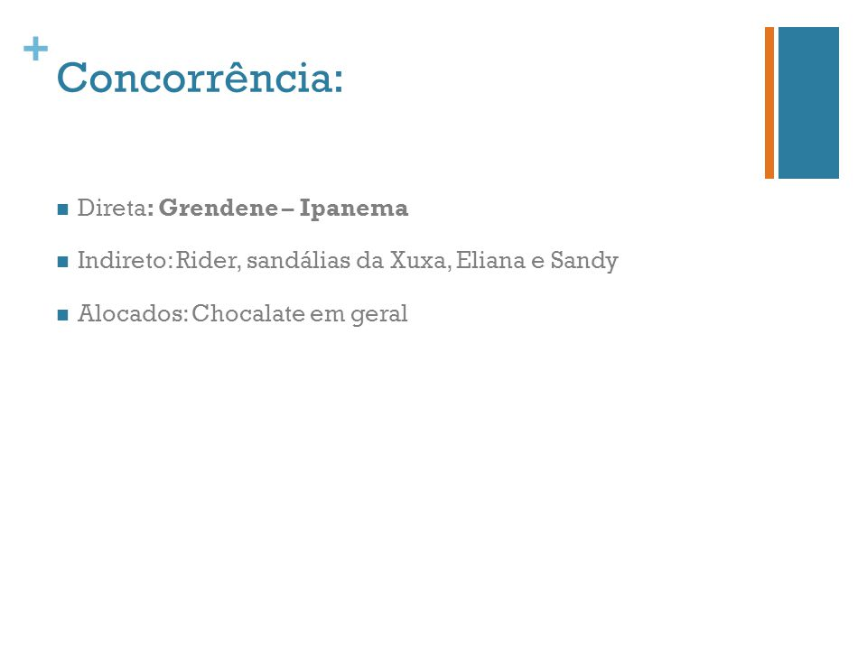 Concorrência: Direta: Grendene – Ipanema