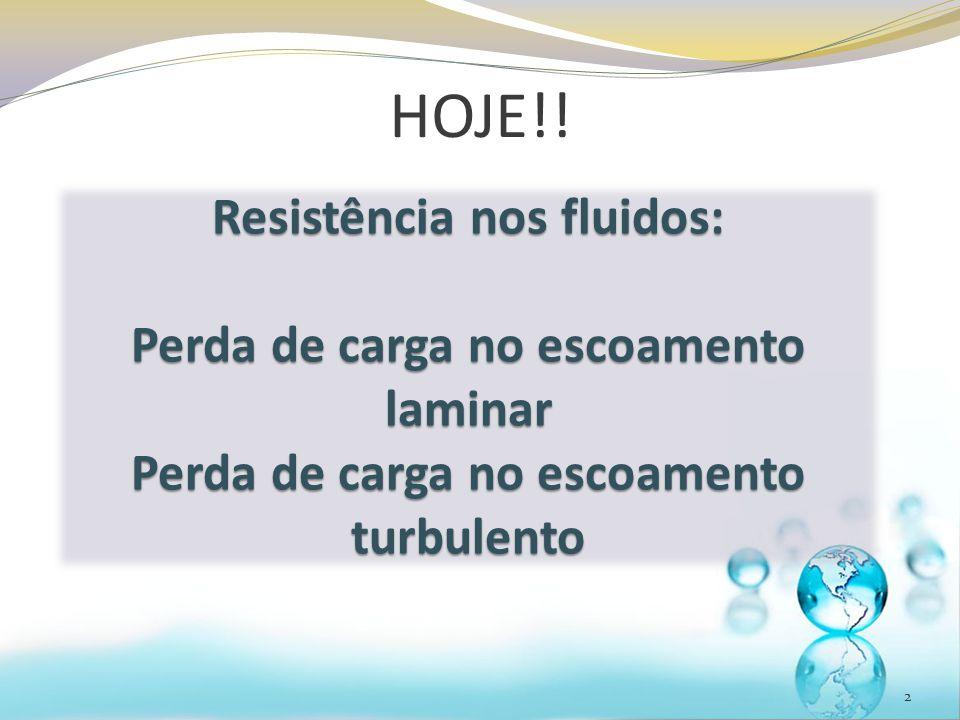HOJE!! Resistência nos fluidos: Perda de carga no escoamento laminar