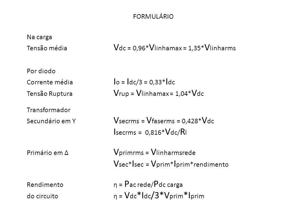 FORMULÁRIO Na carga. Tensão média Vdc = 0,96*Vlinhamax = 1,35*Vlinharms. Por diodo. Corrente média Io = Idc/3 = 0,33*Idc.