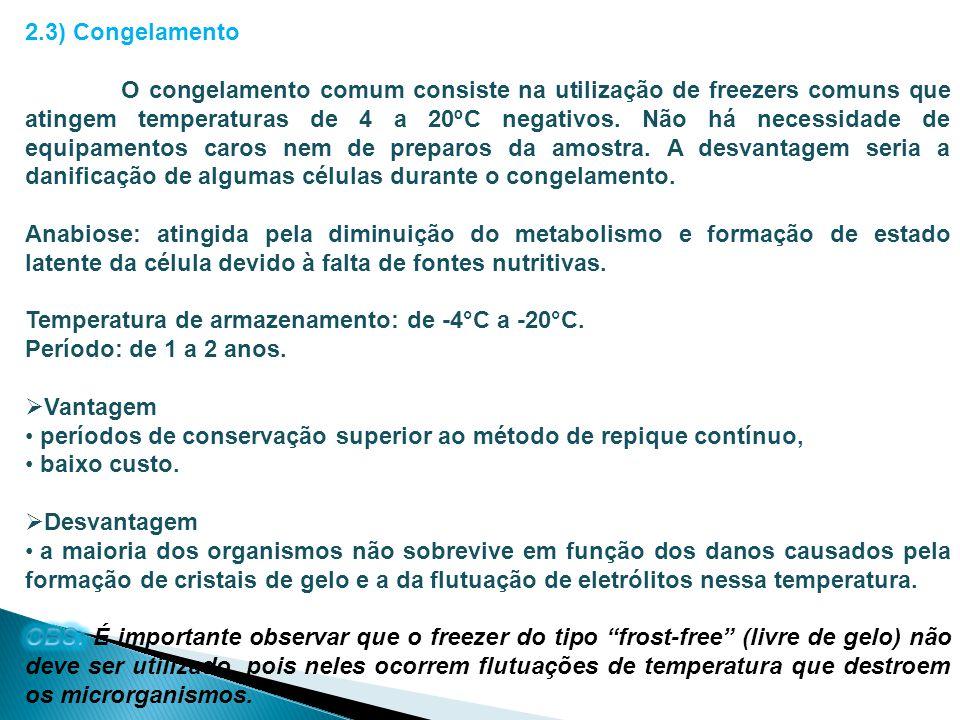 2.3) Congelamento
