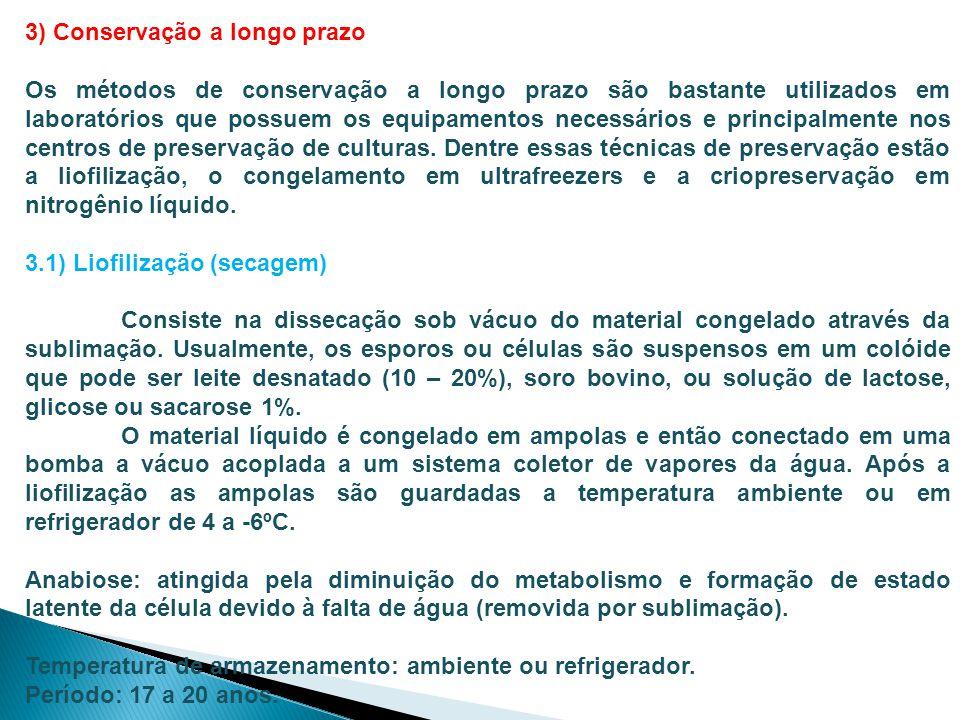 3) Conservação a longo prazo