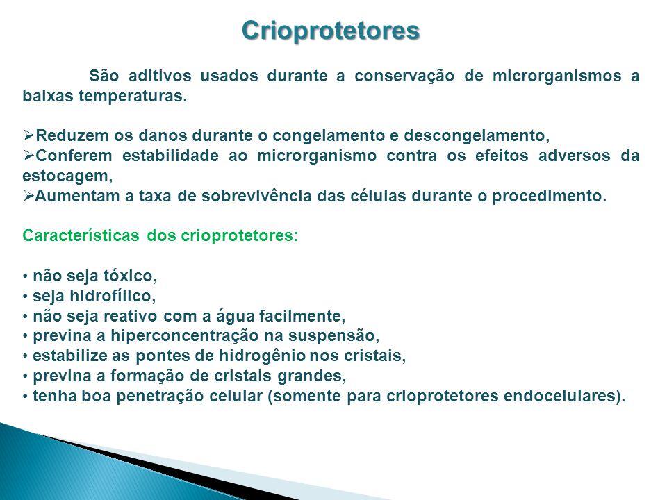 Crioprotetores São aditivos usados durante a conservação de microrganismos a baixas temperaturas.