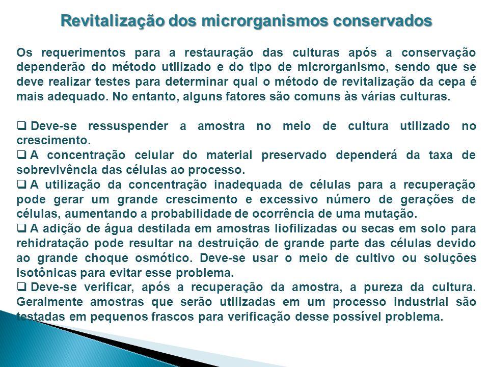 Revitalização dos microrganismos conservados
