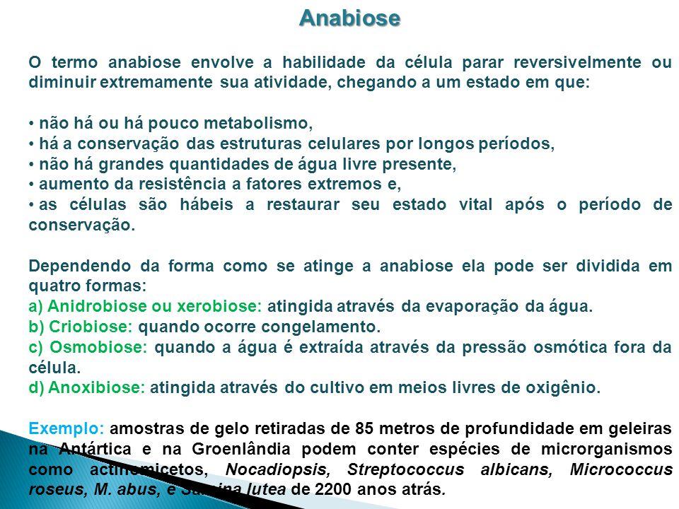 Anabiose O termo anabiose envolve a habilidade da célula parar reversivelmente ou diminuir extremamente sua atividade, chegando a um estado em que: