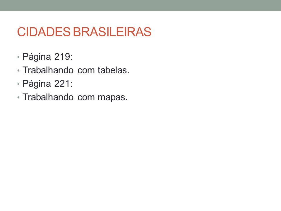 CIDADES BRASILEIRAS Página 219: Trabalhando com tabelas. Página 221: