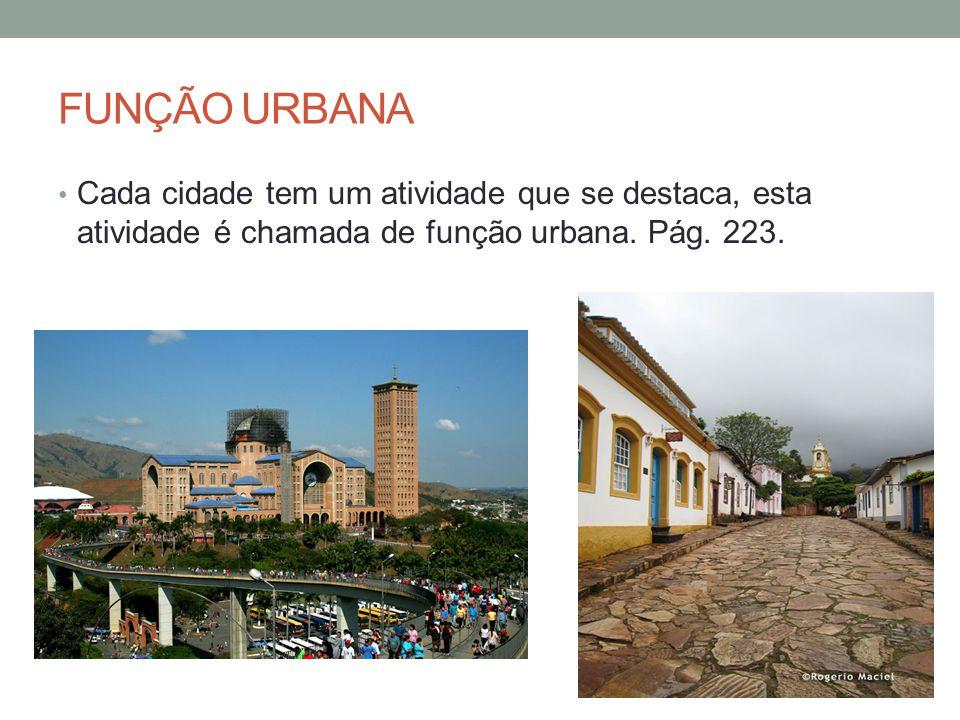 FUNÇÃO URBANA Cada cidade tem um atividade que se destaca, esta atividade é chamada de função urbana.