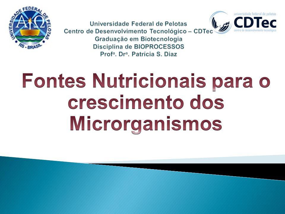 Fontes Nutricionais para o crescimento dos Microrganismos