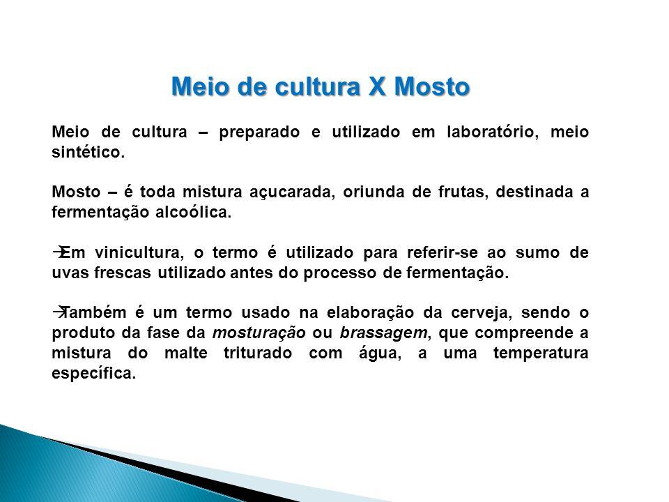 Meio de cultura X Mosto Meio de cultura – preparado e utilizado em laboratório, meio sintético.