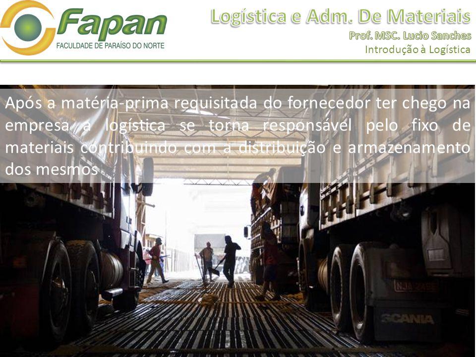 Após a matéria-prima requisitada do fornecedor ter chego na empresa a logística se torna responsável pelo fixo de materiais contribuindo com a distribuição e armazenamento dos mesmos