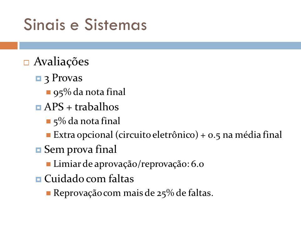 Sinais e Sistemas Avaliações 3 Provas APS + trabalhos Sem prova final