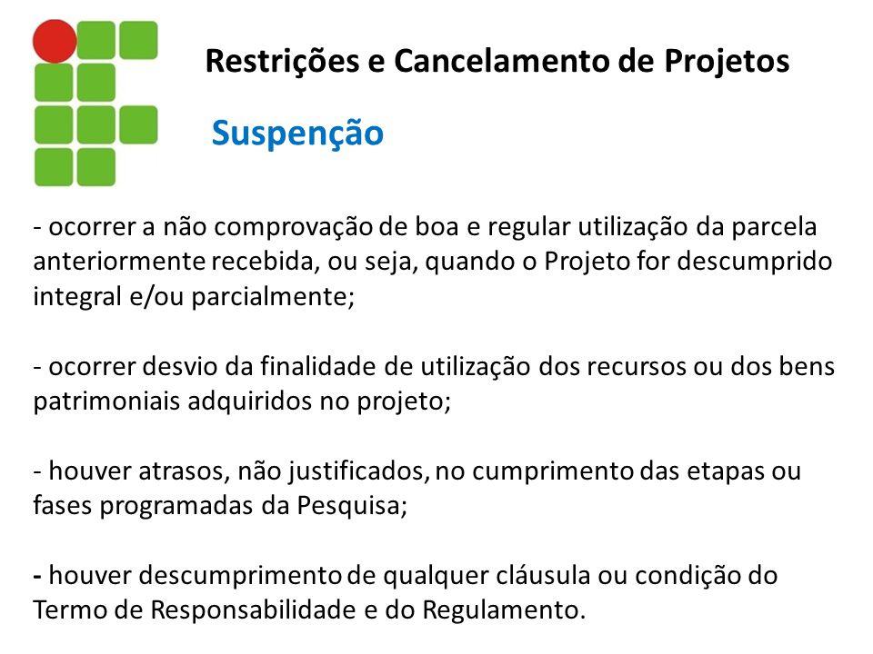 Suspenção Restrições e Cancelamento de Projetos
