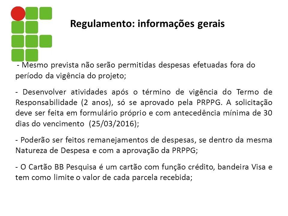 Regulamento: informações gerais