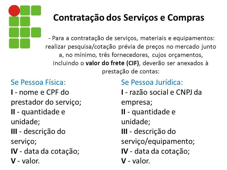 Contratação dos Serviços e Compras