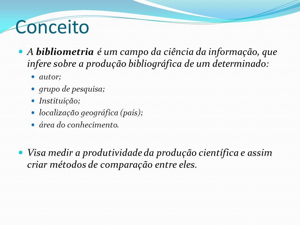 Conceito A bibliometria é um campo da ciência da informação, que infere sobre a produção bibliográfica de um determinado: