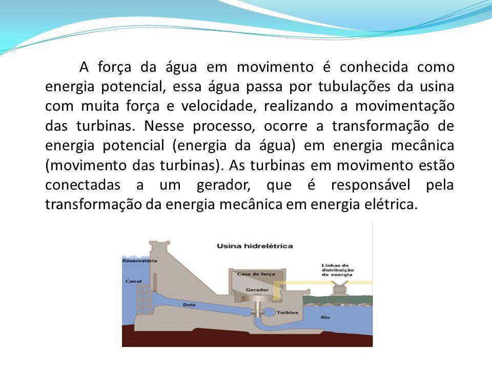 A força da água em movimento é conhecida como energia potencial, essa água passa por tubulações da usina com muita força e velocidade, realizando a movimentação das turbinas.