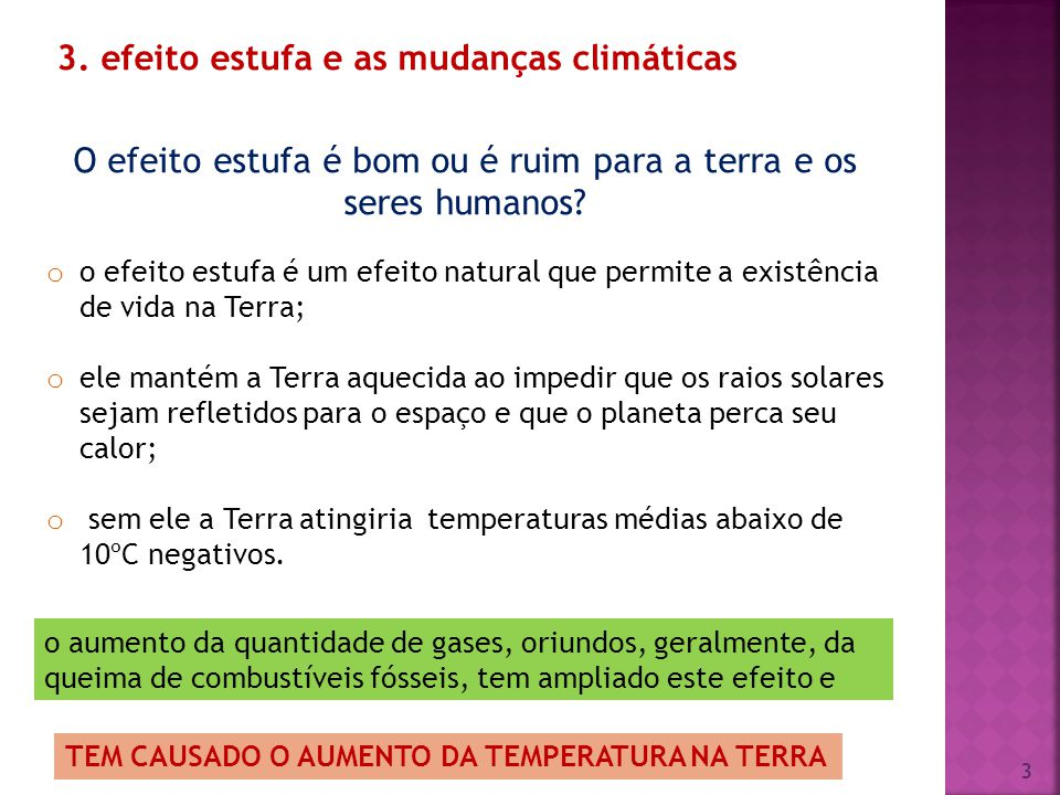 3. efeito estufa e as mudanças climáticas O efeito estufa é bom ou é ruim para a terra e os seres humanos