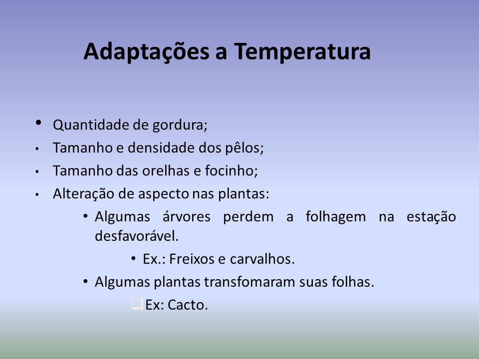 Adaptações a Temperatura