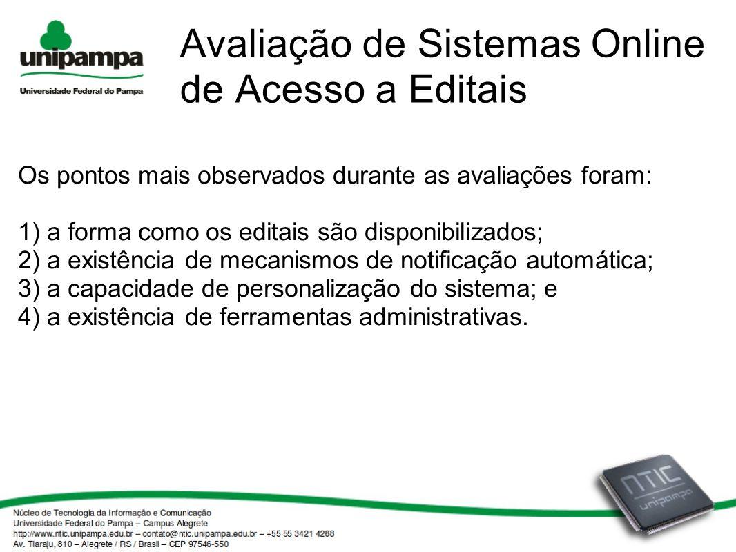 Avaliação de Sistemas Online de Acesso a Editais