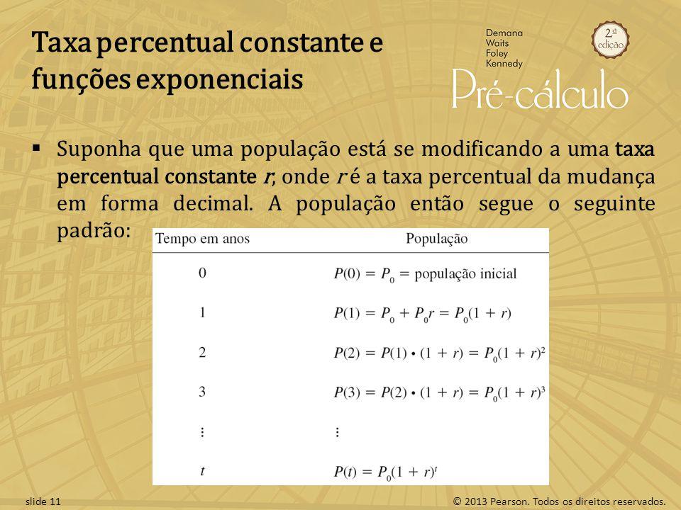 Taxa percentual constante e funções exponenciais