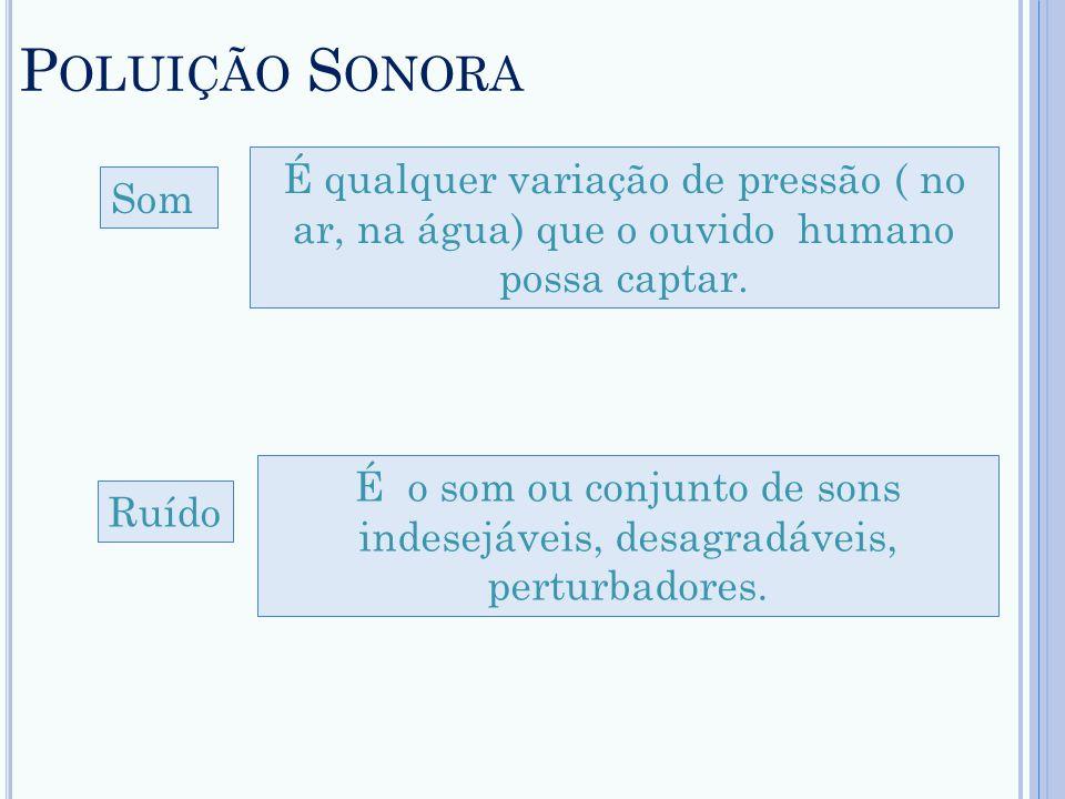 Poluição Sonora É qualquer variação de pressão ( no ar, na água) que o ouvido humano possa captar.