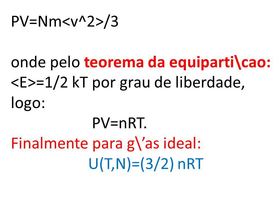 PV=Nm<v^2>/3 onde pelo teorema da equiparti\cao: <E>=1/2 kT por grau de liberdade, logo: PV=nRT.