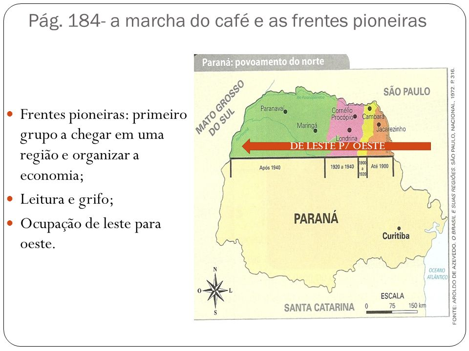Pág. 184- a marcha do café e as frentes pioneiras