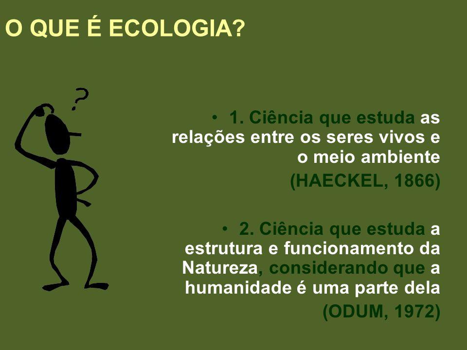 O QUE É ECOLOGIA 1. Ciência que estuda as relações entre os seres vivos e o meio ambiente. (HAECKEL, 1866)