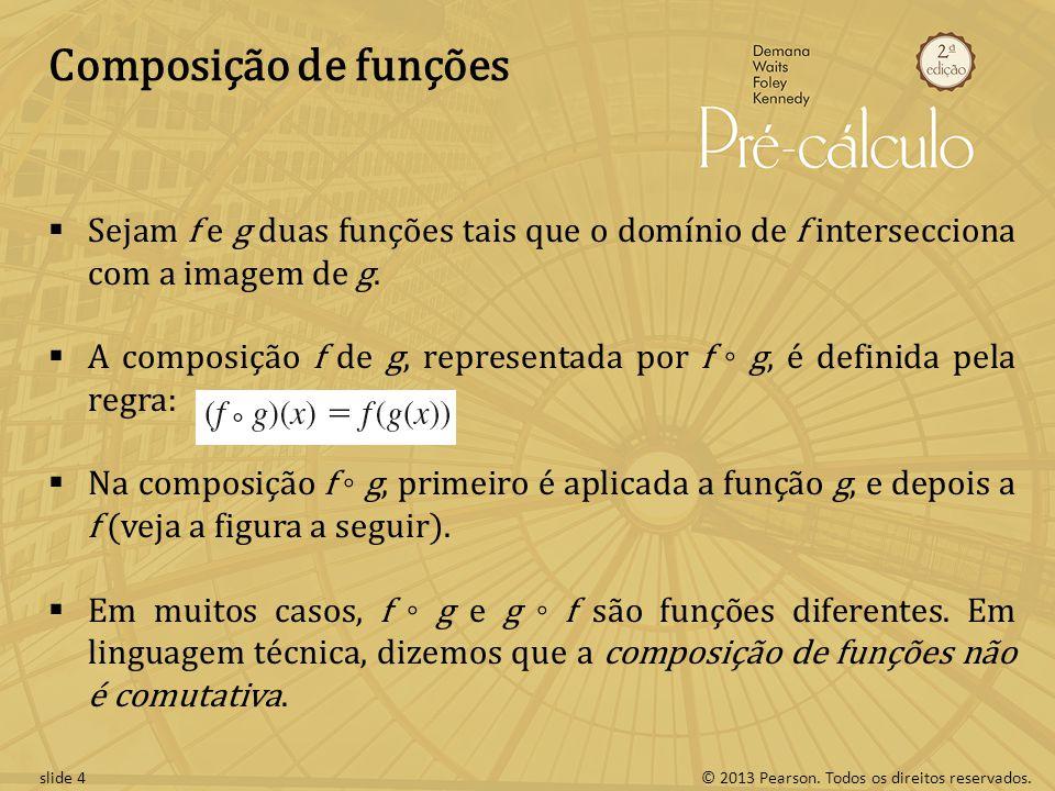 Composição de funções Sejam f e g duas funções tais que o domínio de f intersecciona com a imagem de g.