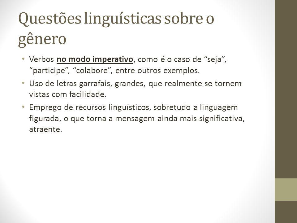 Questões linguísticas sobre o gênero