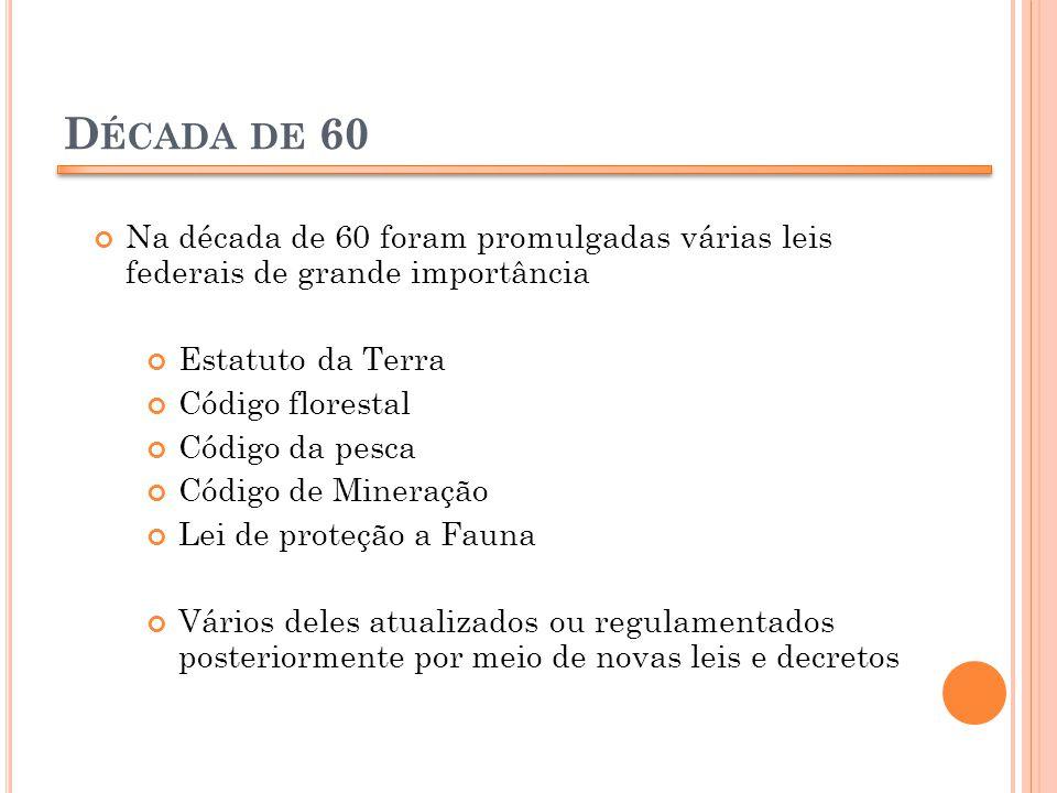 Década de 60 Na década de 60 foram promulgadas várias leis federais de grande importância. Estatuto da Terra.