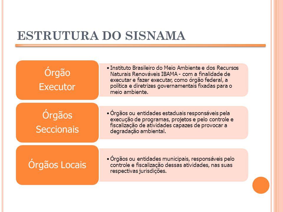 ESTRUTURA DO SISNAMA Órgãos Órgão Órgãos Locais Executor Seccionais
