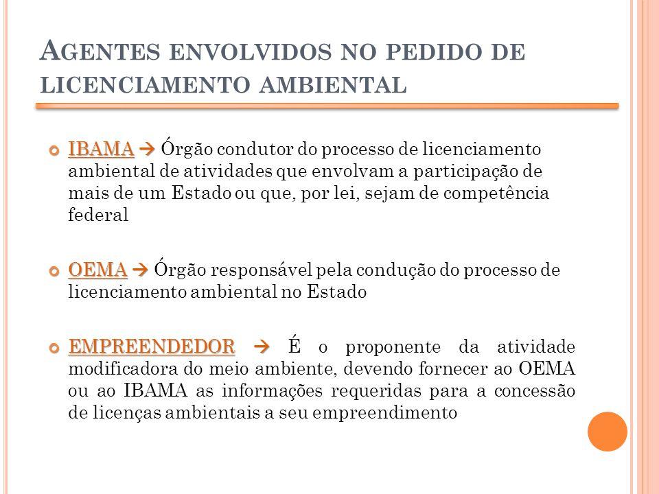 Agentes envolvidos no pedido de licenciamento ambiental