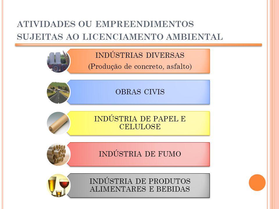 atividades ou empreendimentos sujeitas ao licenciamento ambiental