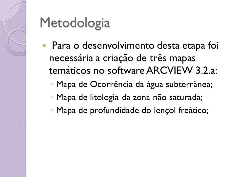 Metodologia Para o desenvolvimento desta etapa foi necessária a criação de três mapas temáticos no software ARCVIEW 3.2.a: