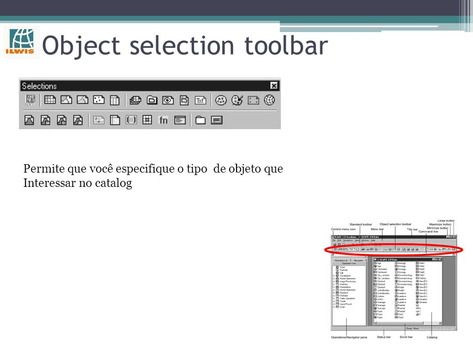 Object selection toolbar